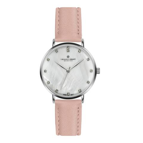 Frederic Graff Women's Silver La Singla Lychee Pink Leather Watch 18 mm