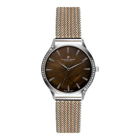 Frederic Graff Women's Silver Basodino 2 Tones Silver & Rose Gold Mesh Watch 18 mm