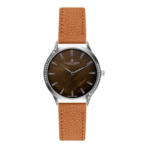 Frederic Graff Women's Silver Basodino Lychee Ginger Brown Leather Watch 18 mm