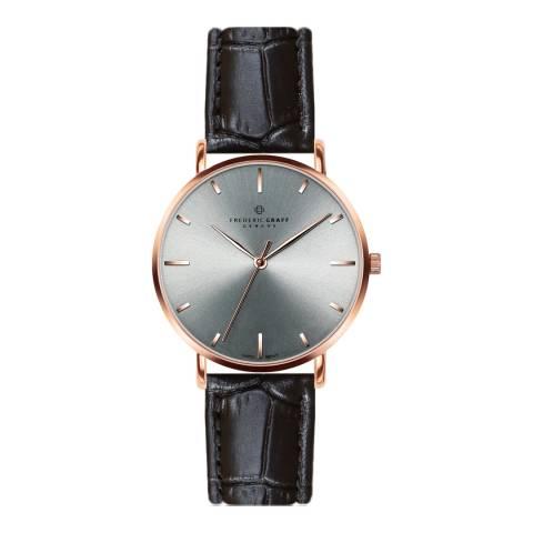 Frederic Graff Unisex Rose Eveque Croco Black Leather Watch 20 mm