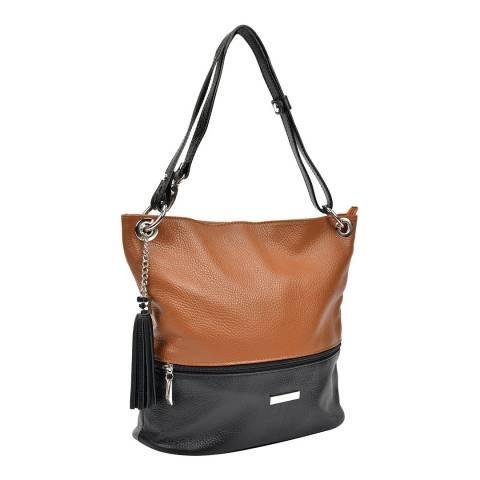 Anna Luchini Cognac/Black Leather Shoulder Bag