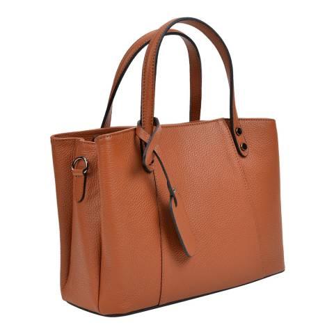 Anna Luchini Cognac Leather Top Handle Bag