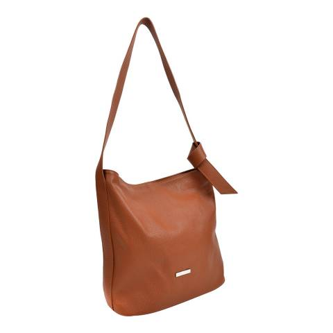 Anna Luchini Cognac Leather Shoulder Bag