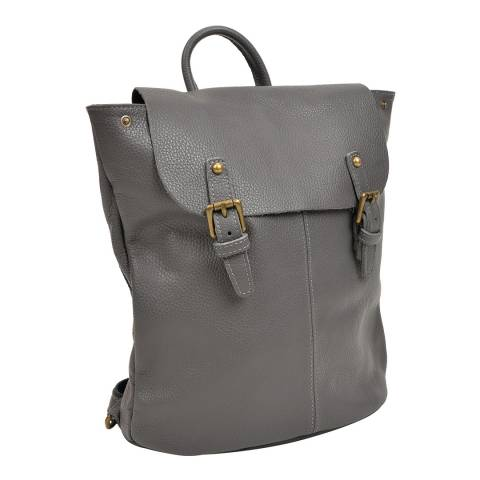 Roberta M Grey Leather Backpack