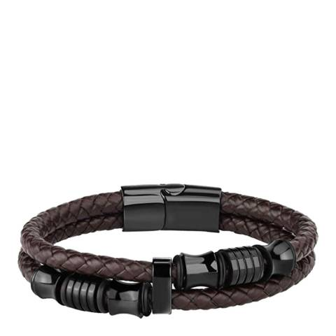 Stephen Oliver Black Plated & Brown Leather Bracelet