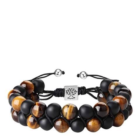 Stephen Oliver Matte Black Onyx & Brown Tiger Eye Adjustable Bracelet