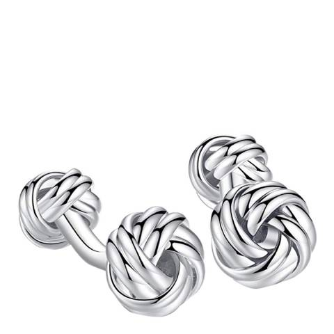 Stephen Oliver Silver Plated Double Knot Cufflinks
