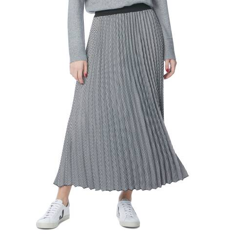 N°· Eleven Black / White Houndstooth Pleat Midi Skirt
