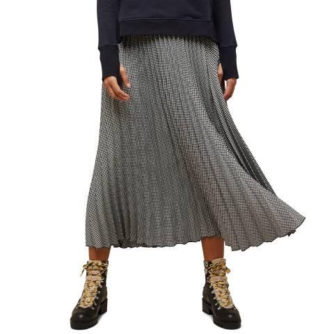N°· Eleven Black / White Houndstooth Pleat Midi Skirt