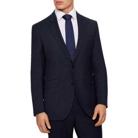 Hackett London Navy Basketweave Wool Jacket