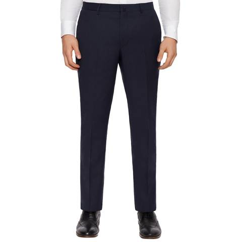 Hackett London Navy Basketweave Wool Trousers