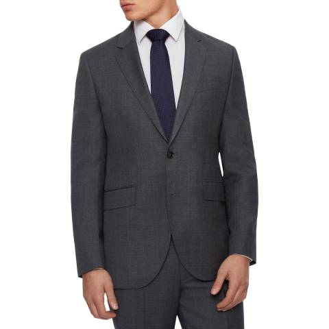 Hackett London Grey Windowpane Regular Fit Wool Jacket