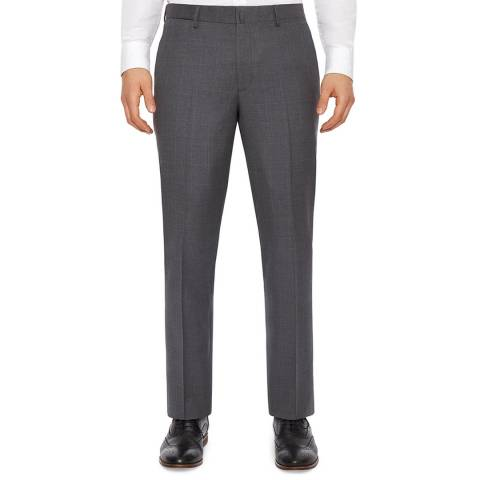 Hackett London Grey Check Regular Fit Wool Trousers