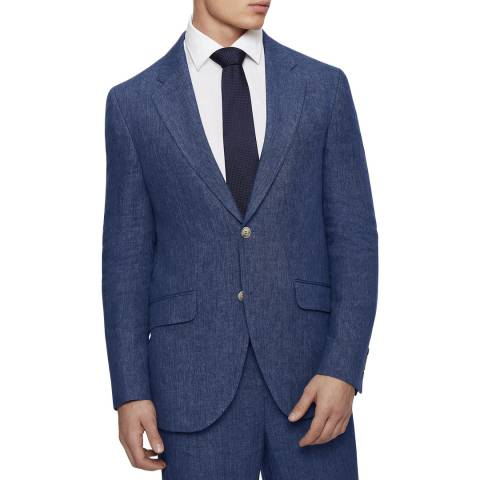 Hackett London Blue Regular Fit Linen Jacket