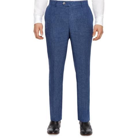 Hackett London Blue Regular Fit Linen Trousers