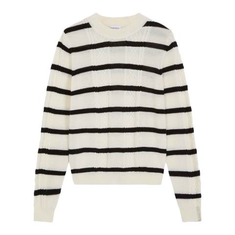 Brora Ivory & Black Merino Cable & Stripe Jumper