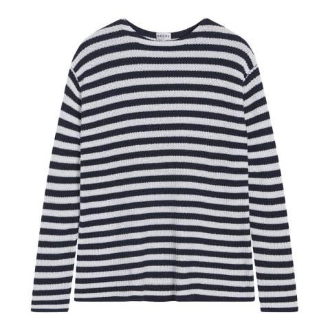 Brora Navy & White Cotton Knit Stripe Jumper