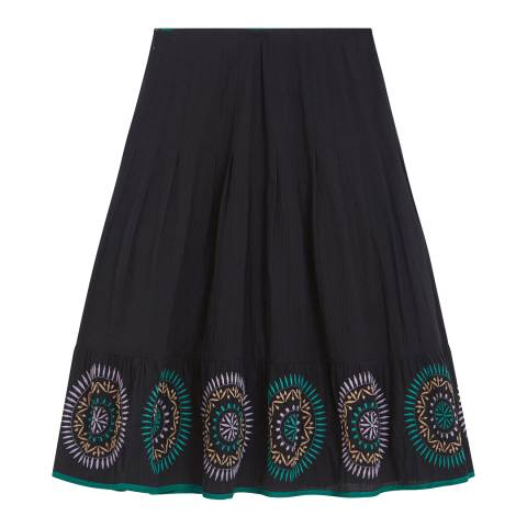 Brora Anthracite Embroidered Cotton Skirt