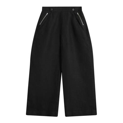 Brora Summer Black Textured Linen Utility Trousers
