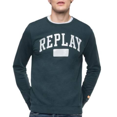 Replay Dark Green Large Logo Sweatshirt