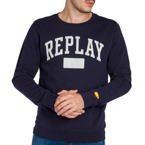 Replay Dark Blue Large Logo Sweatshirt