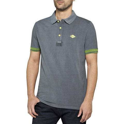 Replay Grey Contrast Polo Shirt
