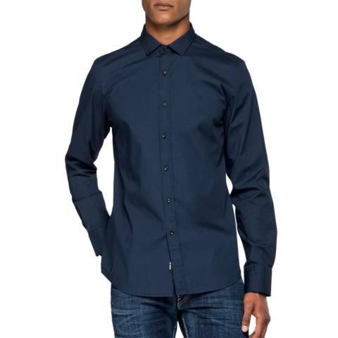 Replay Blue Poplin Stretch Shirt