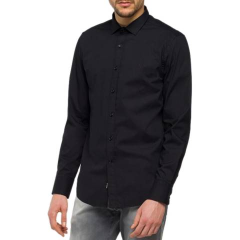 Replay Black Poplin Stretch Shirt