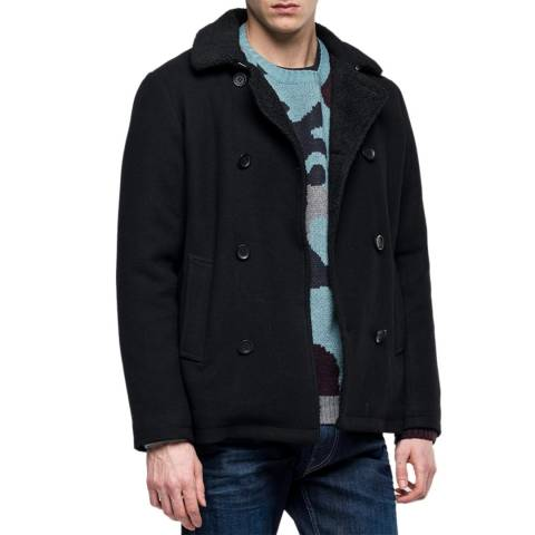 Replay Black Double Breasted Coat