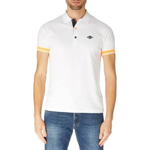 Replay White Fluorescent Stripe Polo Shirt
