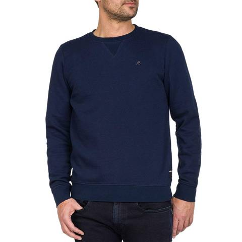 Replay Blue Embroidered Logo Sweatshirt