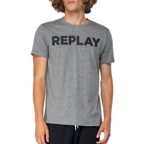 Replay Grey Printed Logo Cotton T-Shirt