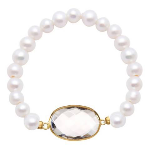 Liv Oliver White Pearl and Quartz Bracelet