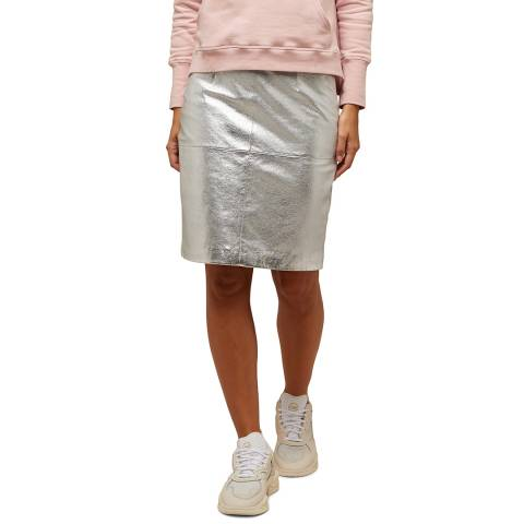 N°· Eleven Silver Leather Skirt