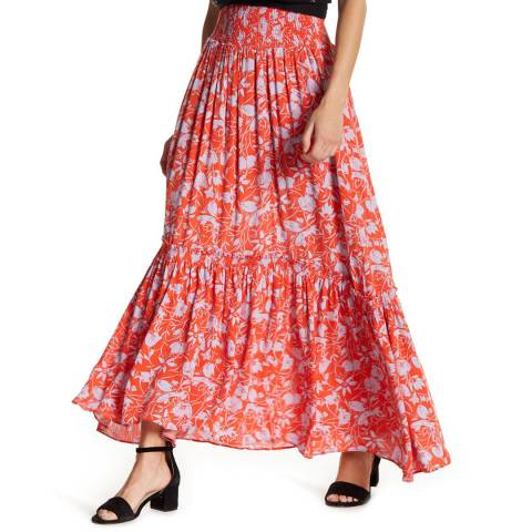 Free People Red Way of the Wind Midi Skirt
