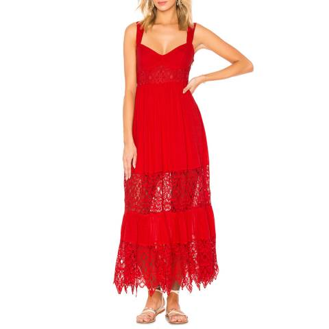 Free People Red Caught Your Eye Maxi Dress