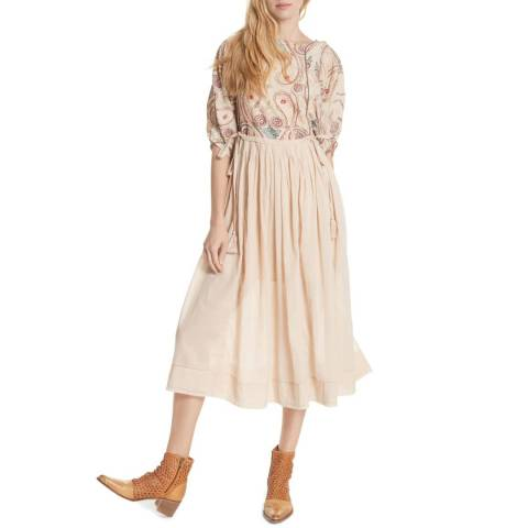 Free People Cream Mesa Cotton Midi Dress
