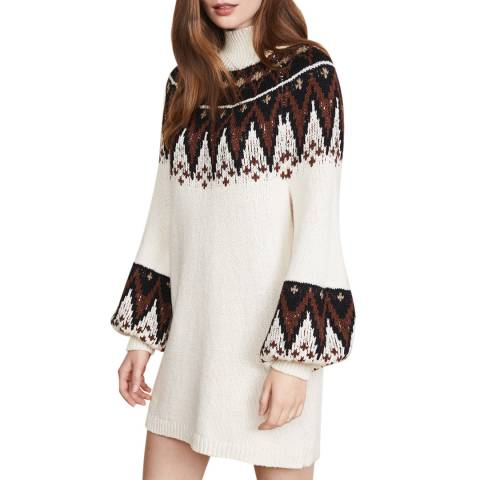 Free People Cream Scotland Knit Midi Dress
