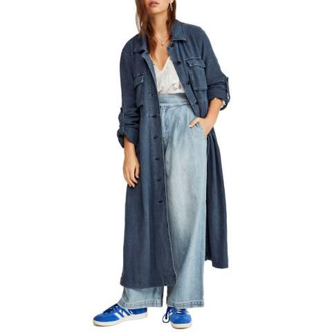 Free People Blue Rainz Duster Coat