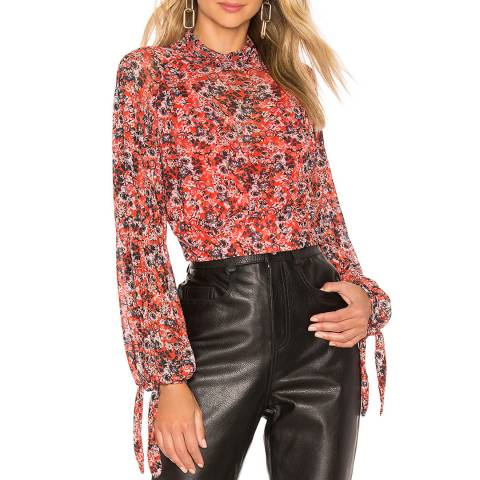 Free People Red All Dolled Up Top