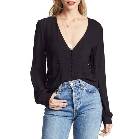 Free People Black Relaxed Masie Top