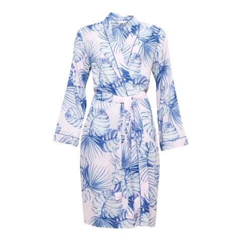 Cyberjammies Pink/Blue Isla Woven Long Sleeve Palm Leaf Print Short Robe