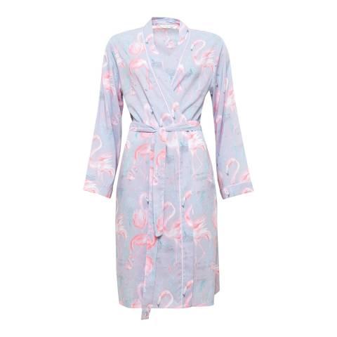 Cyberjammies Zara Woven Long Sleeve Flamingo Print Short Robe