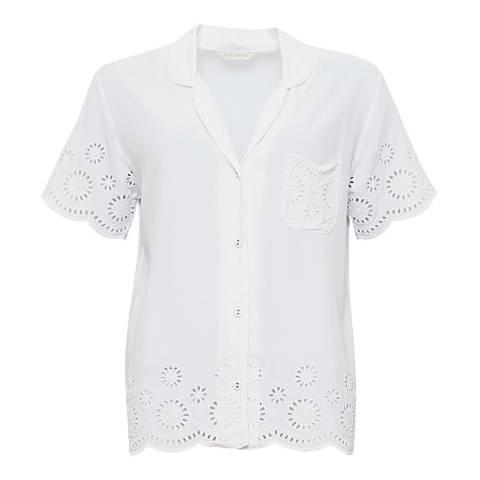 Cyberjammies Ella Woven Short Sleeve Embroidered Pyjama Top