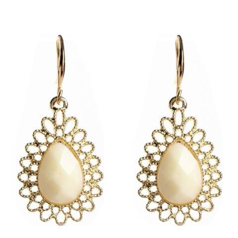 Amrita Singh White/Jade Drop Earrings