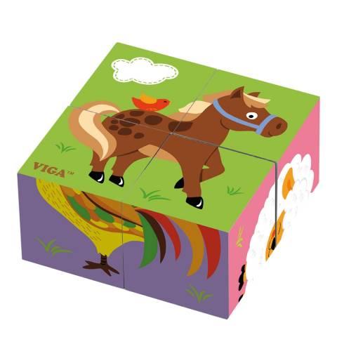 Viga Toys 4 Piece Farm Animals Cube Puzzle