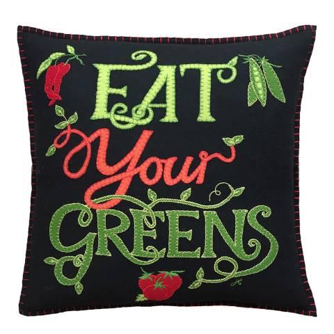 Jan Constantine Black Eat Your Greens Cushion 46x46cm