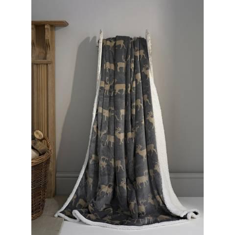 Deyongs Hartley Grey Printed Flannel Sherpa Throw 140x180cm