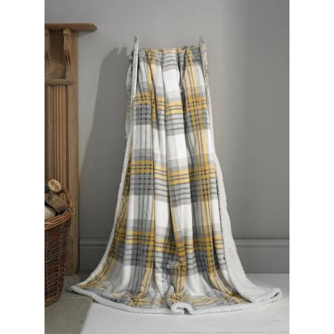 Deyongs Tattershall Printed Flannel Sherpa Throw 140x180cm