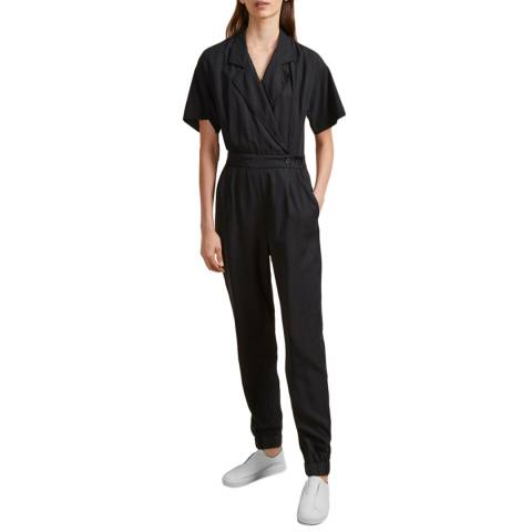 French Connection Black Caspia Wrap Jumpsuit